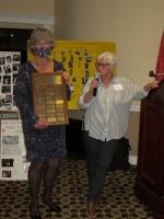 Leslie Giebelhaus being presented the Eileen Armstrong award